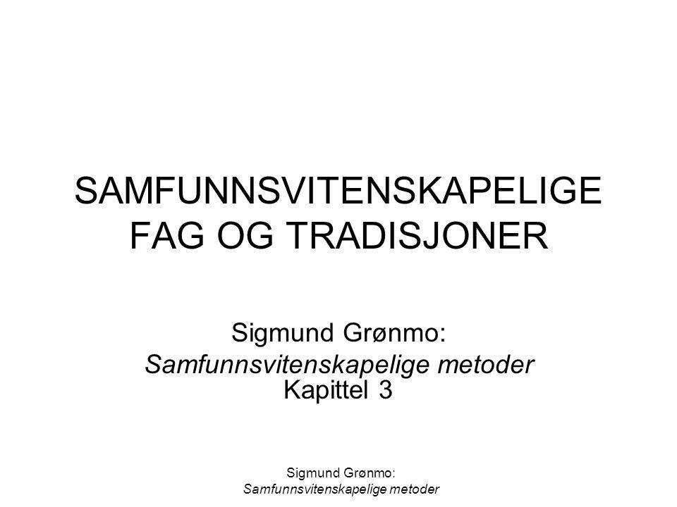 Sigmund Grønmo: Samfunnsvitenskapelige metoder Ulike samfunnsvitenskapelige fag: Viktige metoder