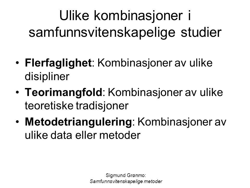 Sigmund Grønmo: Samfunnsvitenskapelige metoder Ulike kombinasjoner i samfunnsvitenskapelige studier Flerfaglighet: Kombinasjoner av ulike disipliner T