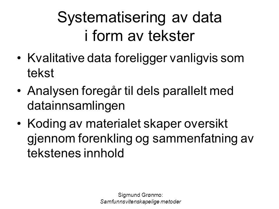 Sigmund Grønmo: Samfunnsvitenskapelige metoder Systematisering av data i form av tekster Kvalitative data foreligger vanligvis som tekst Analysen fore