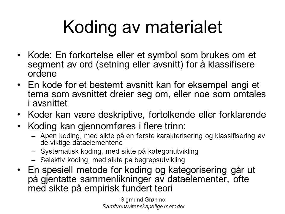 Sigmund Grønmo: Samfunnsvitenskapelige metoder Koding av materialet Kode: En forkortelse eller et symbol som brukes om et segment av ord (setning elle