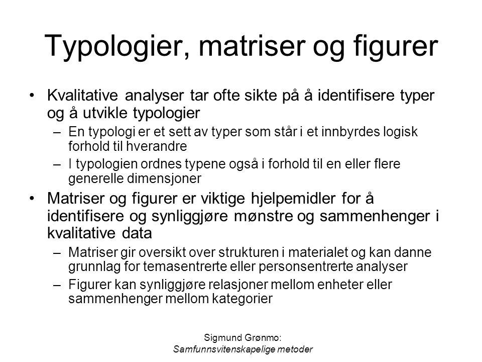 Sigmund Grønmo: Samfunnsvitenskapelige metoder Typologier, matriser og figurer Kvalitative analyser tar ofte sikte på å identifisere typer og å utvikl