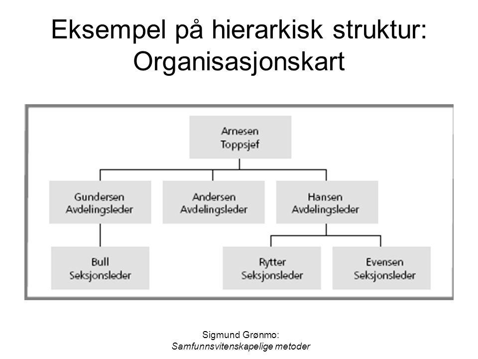 Sigmund Grønmo: Samfunnsvitenskapelige metoder Eksempel på hierarkisk struktur: Organisasjonskart