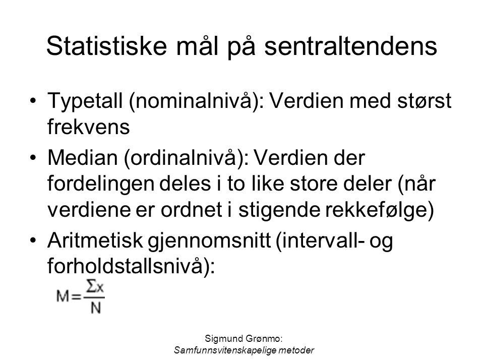 Sigmund Grønmo: Samfunnsvitenskapelige metoder Statistiske mål på sentraltendens Typetall (nominalnivå): Verdien med størst frekvens Median (ordinalni