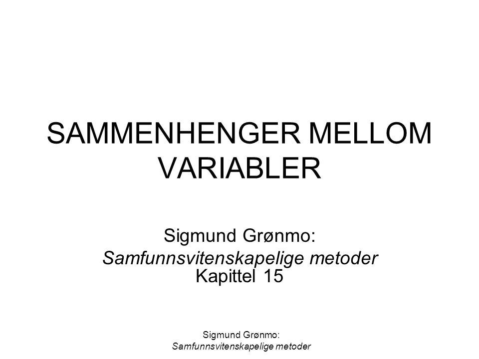 Sigmund Grønmo: Samfunnsvitenskapelige metoder SAMMENHENGER MELLOM VARIABLER Sigmund Grønmo: Samfunnsvitenskapelige metoder Kapittel 15