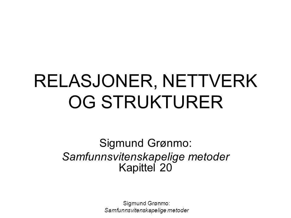 Sigmund Grønmo: Samfunnsvitenskapelige metoder RELASJONER, NETTVERK OG STRUKTURER Sigmund Grønmo: Samfunnsvitenskapelige metoder Kapittel 20