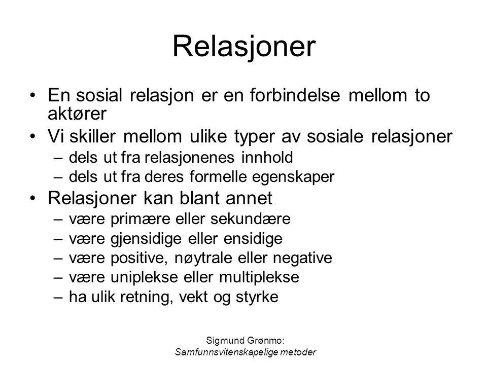 Sigmund Grønmo: Samfunnsvitenskapelige metoder Relasjoner En sosial relasjon er en forbindelse mellom to aktører Vi skiller mellom ulike typer av sosi
