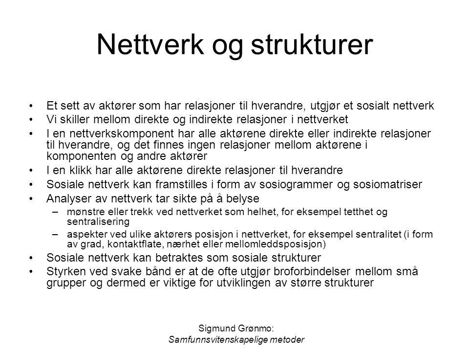 Sigmund Grønmo: Samfunnsvitenskapelige metoder Nettverk og strukturer Et sett av aktører som har relasjoner til hverandre, utgjør et sosialt nettverk