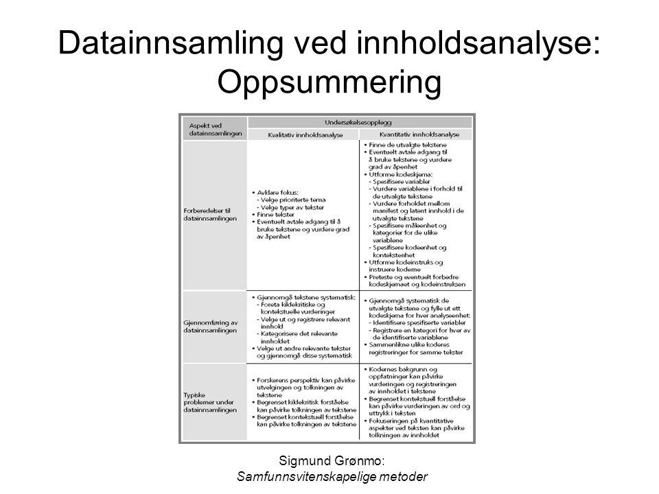 Sigmund Grønmo: Samfunnsvitenskapelige metoder Datainnsamling ved innholdsanalyse: Oppsummering