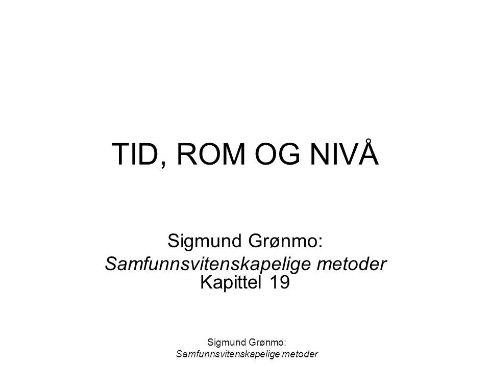 Sigmund Grønmo: Samfunnsvitenskapelige metoder TID, ROM OG NIVÅ Sigmund Grønmo: Samfunnsvitenskapelige metoder Kapittel 19