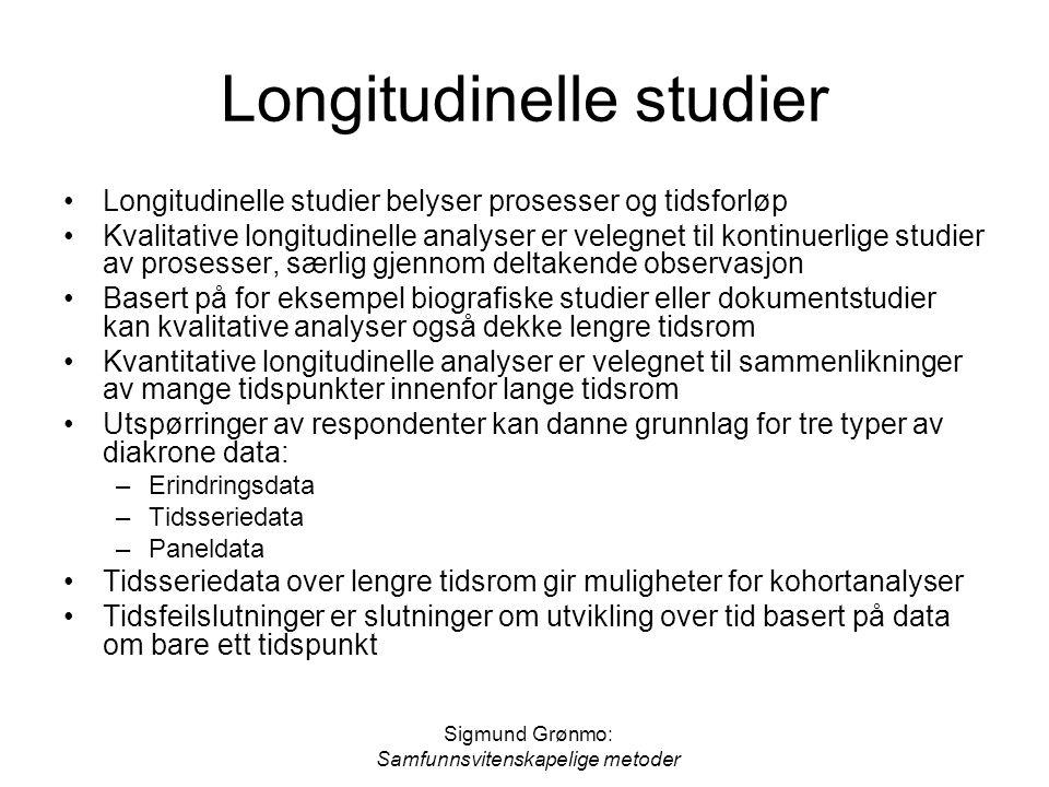 Sigmund Grønmo: Samfunnsvitenskapelige metoder Longitudinelle studier Longitudinelle studier belyser prosesser og tidsforløp Kvalitative longitudinell