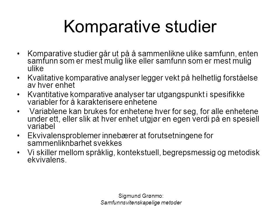 Sigmund Grønmo: Samfunnsvitenskapelige metoder Komparative studier Komparative studier går ut på å sammenlikne ulike samfunn, enten samfunn som er mes