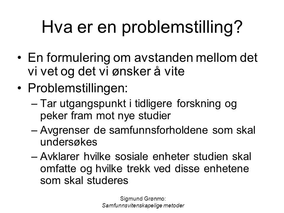 Sigmund Grønmo: Samfunnsvitenskapelige metoder Hva er en problemstilling? En formulering om avstanden mellom det vi vet og det vi ønsker å vite Proble