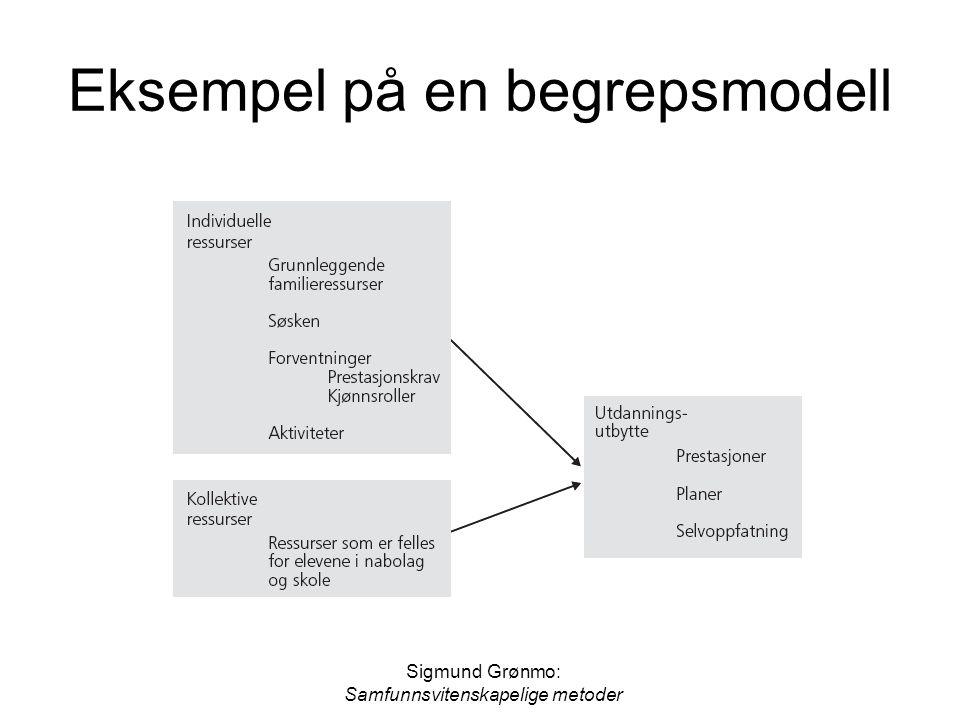 Sigmund Grønmo: Samfunnsvitenskapelige metoder Eksempel på en begrepsmodell