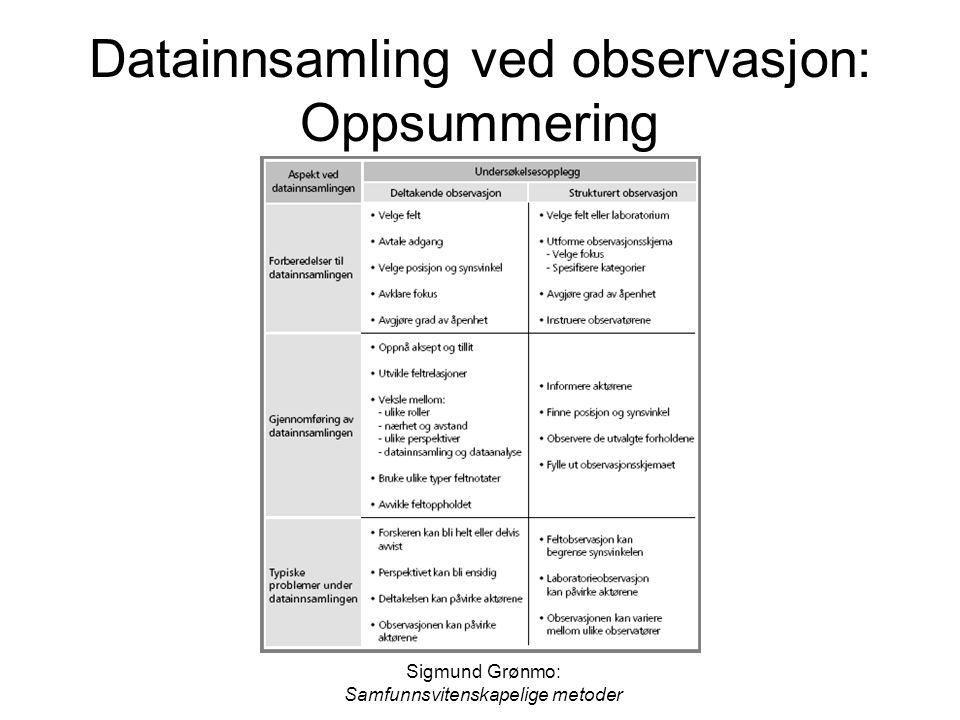 Sigmund Grønmo: Samfunnsvitenskapelige metoder Datainnsamling ved observasjon: Oppsummering