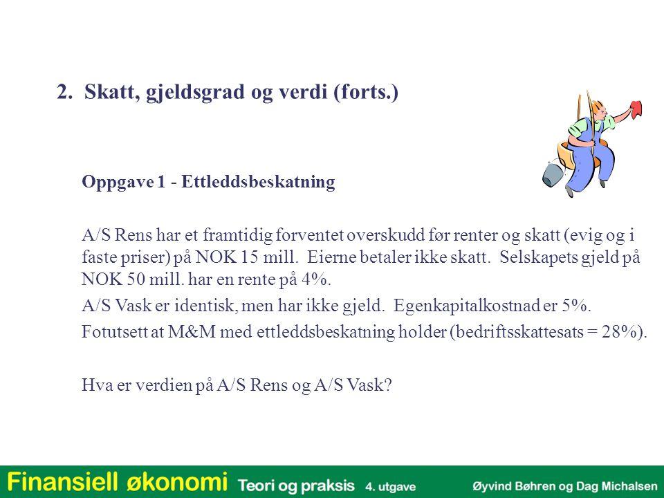 Oppgave 1 - Ettleddsbeskatning A/S Rens har et framtidig forventet overskudd før renter og skatt (evig og i faste priser) på NOK 15 mill. Eierne betal