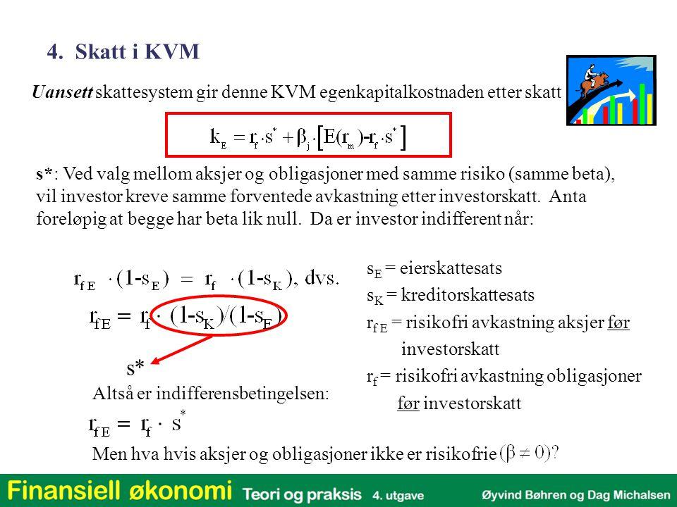 Uansett skattesystem gir denne KVM egenkapitalkostnaden etter skatt 4. Skatt i KVM s*: Ved valg mellom aksjer og obligasjoner med samme risiko (samme