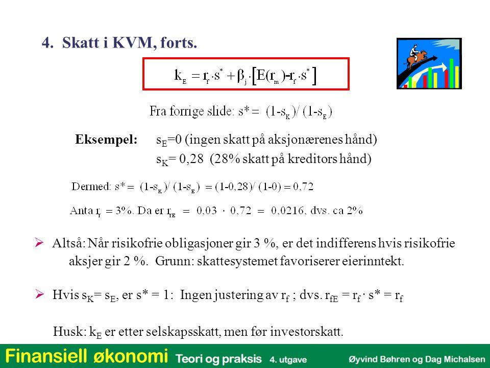 Eksempel:s E =0 (ingen skatt på aksjonærenes hånd) s K = 0,28 (28% skatt på kreditors hånd)  Hvis s K = s E, er s* = 1: Ingen justering av r f ; dvs.