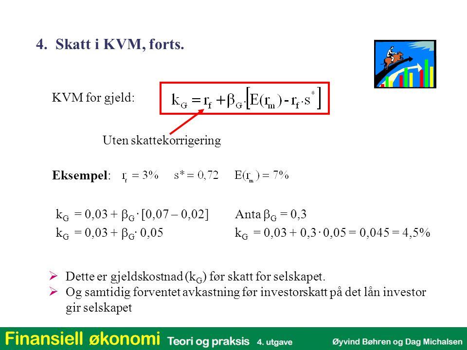 Eksempel: KVM for gjeld: Uten skattekorrigering k G = 0,03 +  G. [0,07 – 0,02] k G = 0,03 +  G. 0,05 Anta  G = 0,3 k G = 0,03 + 0,3. 0,05 = 0,045 =