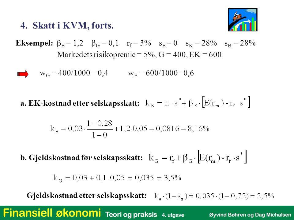 w G = 400/1000 = 0,4w E = 600/1000 =0,6 Eksempel:  E = 1,2  G = 0,1 r f = 3% s E = 0 s K = 28% s B = 28% Markedets risikopremie = 5%, G = 400, EK =
