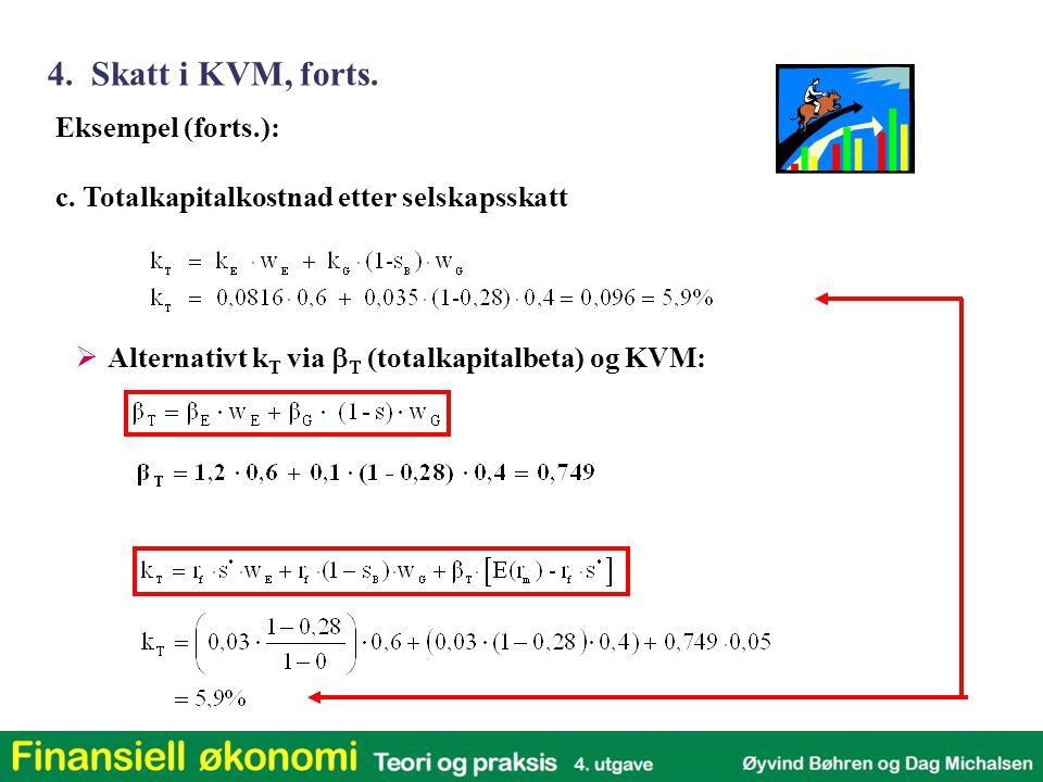 Eksempel (forts.): c. Totalkapitalkostnad etter selskapsskatt  Alternativt k T via    (totalkapitalbeta)  og KVM: 4. Skatt i KVM, forts.