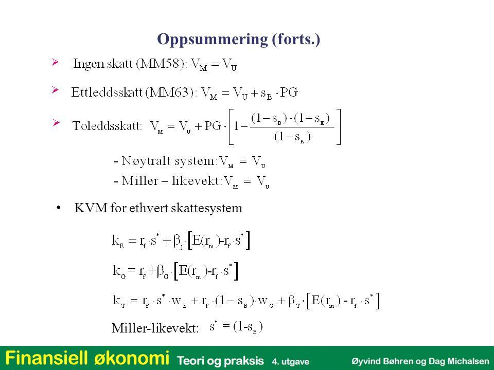    Oppsummering (forts.) KVM for ethvert skattesystem Miller-likevekt: