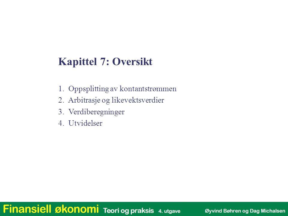 Kapittel 7: Oversikt 1.Oppsplitting av kontantstrømmen 2.
