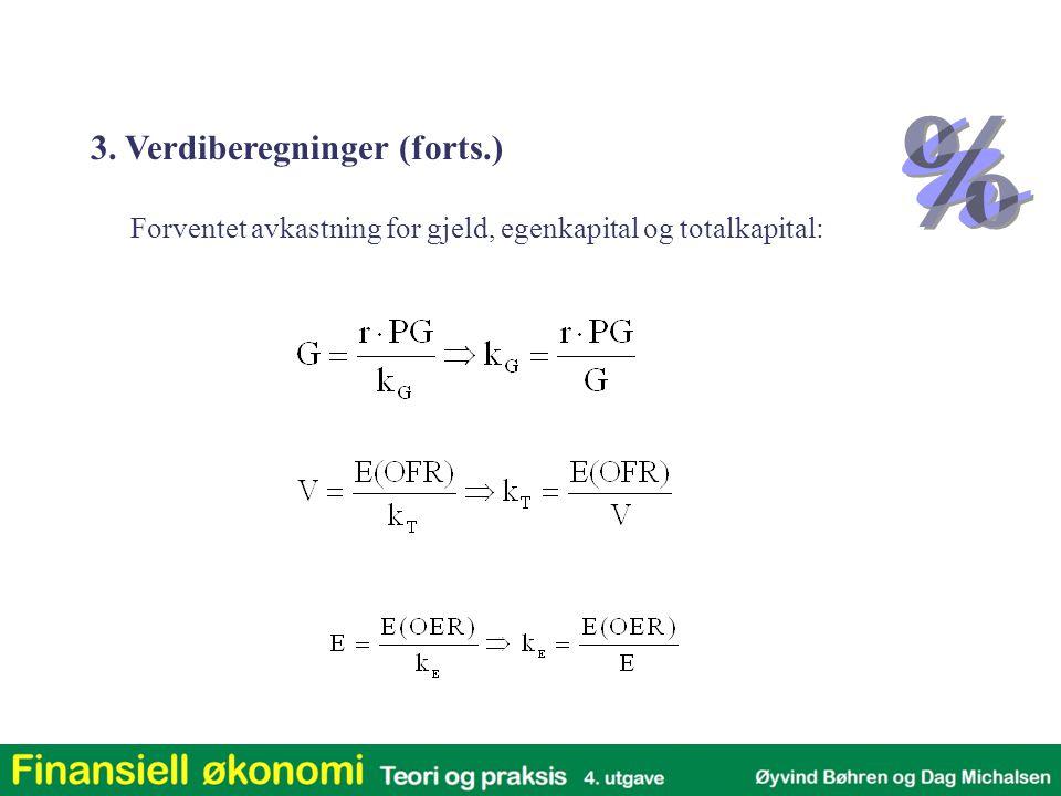 Forventet avkastning for gjeld, egenkapital og totalkapital: 3. Verdiberegninger (forts.)