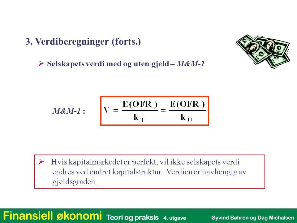 M&M-1 :  Selskapets verdi med og uten gjeld – M&M-1  Hvis kapitalmarkedet er perfekt, vil ikke selskapets verdi endres ved endret kapitalstruktur.