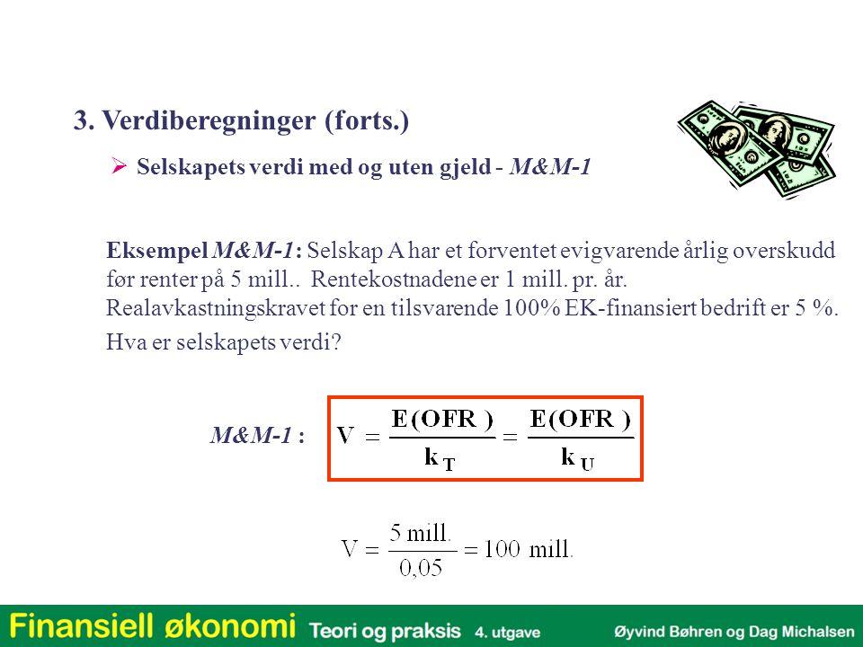 Eksempel M&M-1: Selskap A har et forventet evigvarende årlig overskudd før renter på 5 mill..