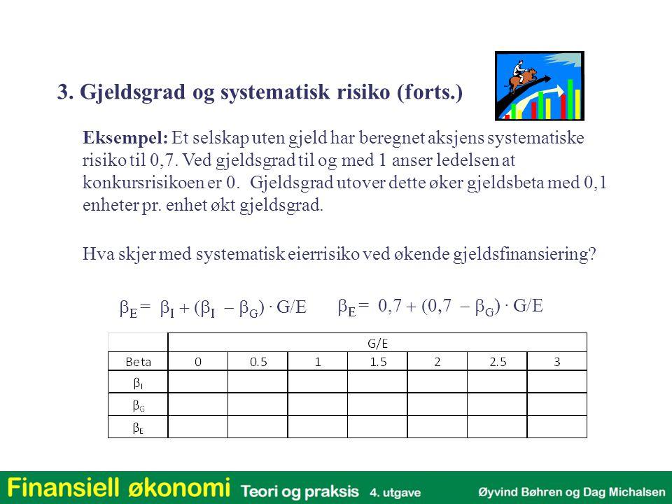   =      G )  G/E   = 0,7  G )  G/E Eksempel: Et selskap uten gjeld har beregnet aksjens systematiske risiko til 0,7.