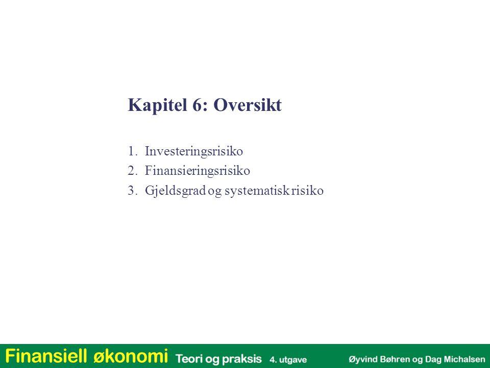 Kapitel 6: Oversikt 1. Investeringsrisiko 2. Finansieringsrisiko 3. Gjeldsgrad og systematisk risiko