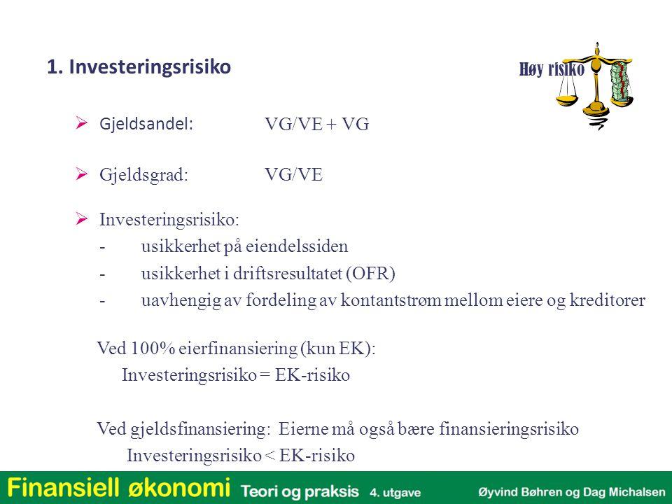 1. Investeringsrisiko  Gjeldsandel: VG/VE + VG  Gjeldsgrad: VG/VE  Investeringsrisiko: -usikkerhet på eiendelssiden -usikkerhet i driftsresultatet