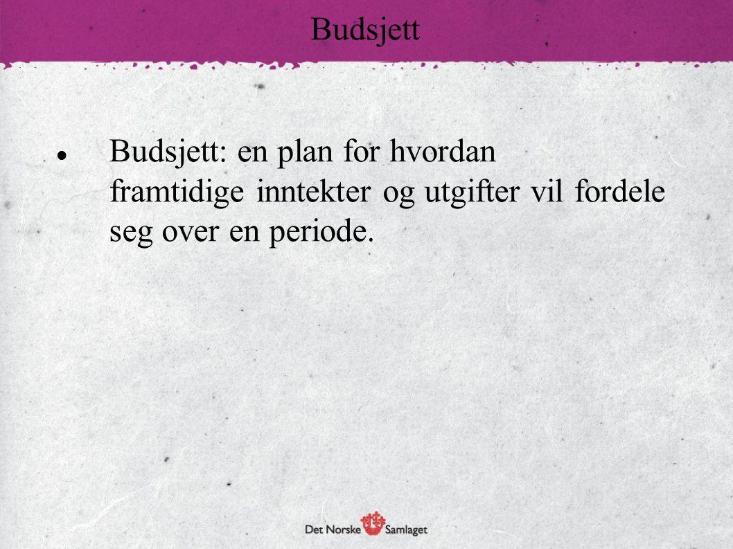 Budsjett: en plan for hvordan framtidige inntekter og utgifter vil fordele seg over en periode. Budsjett