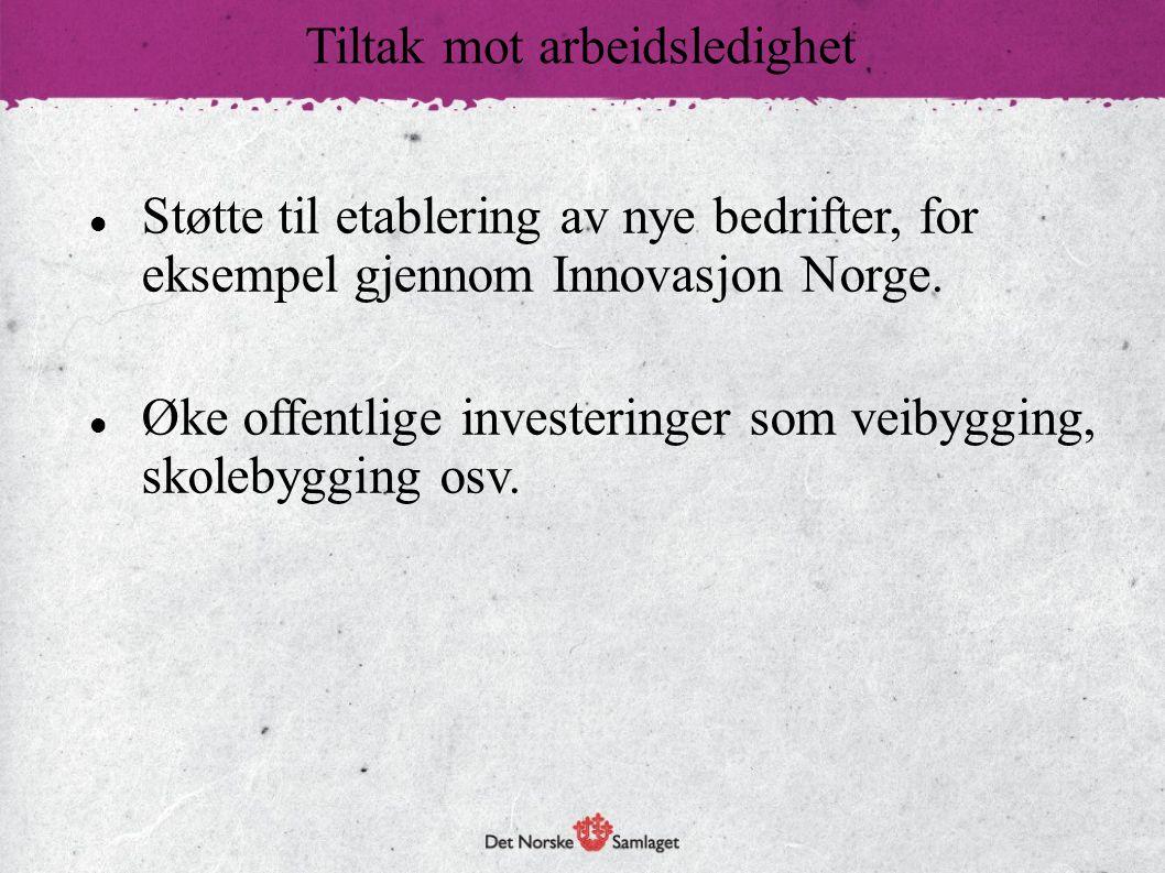 Støtte til etablering av nye bedrifter, for eksempel gjennom Innovasjon Norge. Øke offentlige investeringer som veibygging, skolebygging osv. Tiltak m