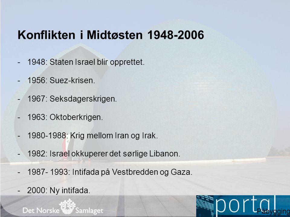 Konflikten i Midtøsten 1948-2006 -1948: Staten Israel blir opprettet. -1956: Suez-krisen. -1967: Seksdagerskrigen. -1963: Oktoberkrigen. -1980-1988: K