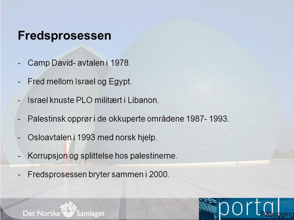 Fredsprosessen -Camp David- avtalen i 1978. -Fred mellom Israel og Egypt. -Israel knuste PLO militært i Libanon. -Palestinsk opprør i de okkuperte omr
