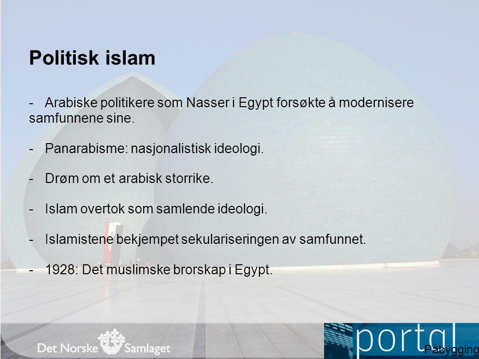 Politisk islam -Arabiske politikere som Nasser i Egypt forsøkte å modernisere samfunnene sine. -Panarabisme: nasjonalistisk ideologi. -Drøm om et arab