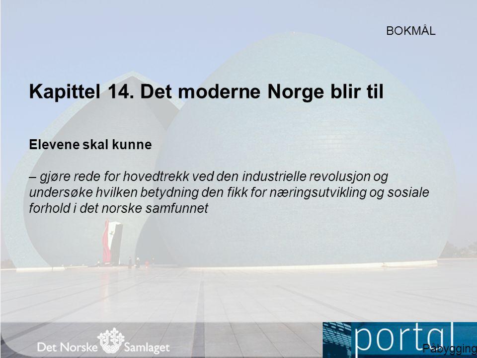 Kapittel 14. Det moderne Norge blir til Elevene skal kunne – gjøre rede for hovedtrekk ved den industrielle revolusjon og undersøke hvilken betydning