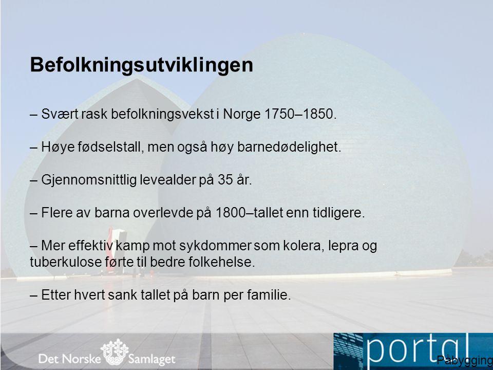 Befolkningsutviklingen – Svært rask befolkningsvekst i Norge 1750–1850. – Høye fødselstall, men også høy barnedødelighet. – Gjennomsnittlig levealder