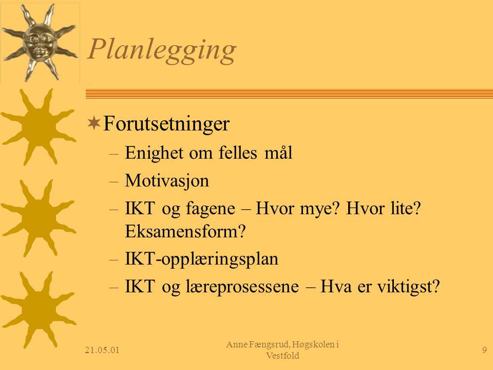21.05.019 Anne Fængsrud, Høgskolen i Vestfold Planlegging  Forutsetninger – Enighet om felles mål – Motivasjon – IKT og fagene – Hvor mye? Hvor lite?