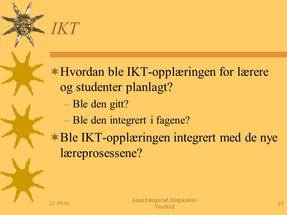 21.05.0110 Anne Fængsrud, Høgskolen i Vestfold IKT  Hvordan ble IKT-opplæringen for lærere og studenter planlagt? – Ble den gitt? – Ble den integrert