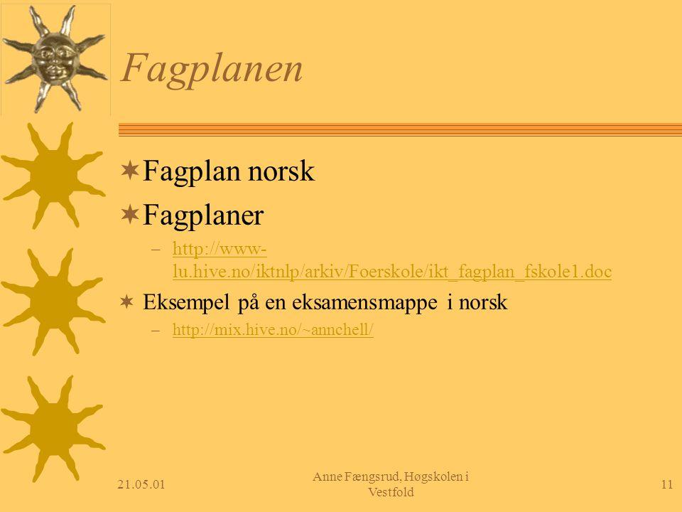 21.05.0111 Anne Fængsrud, Høgskolen i Vestfold Fagplanen  Fagplan norsk  Fagplaner – http://www- lu.hive.no/iktnlp/arkiv/Foerskole/ikt_fagplan_fskol