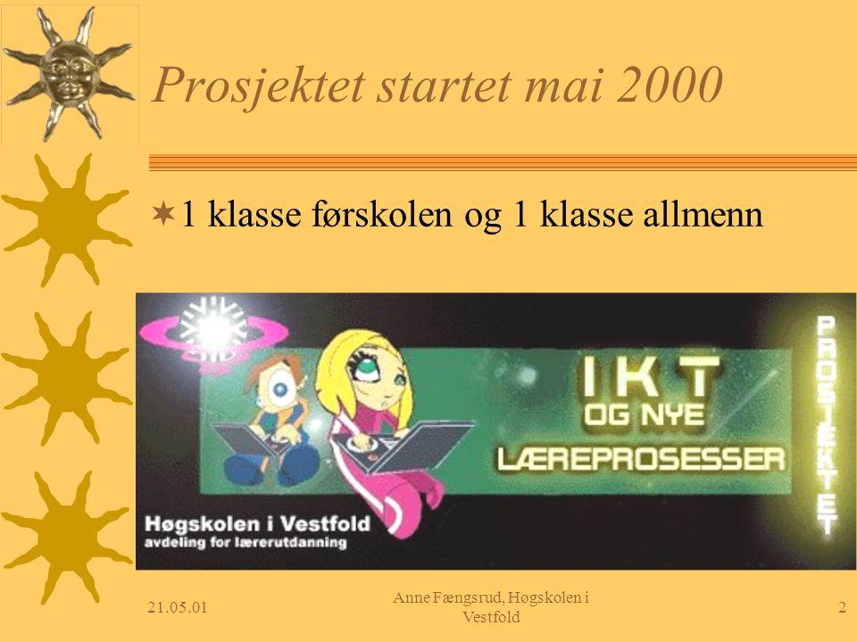 21.05.012 Anne Fængsrud, Høgskolen i Vestfold Prosjektet startet mai 2000  1 klasse førskolen og 1 klasse allmenn