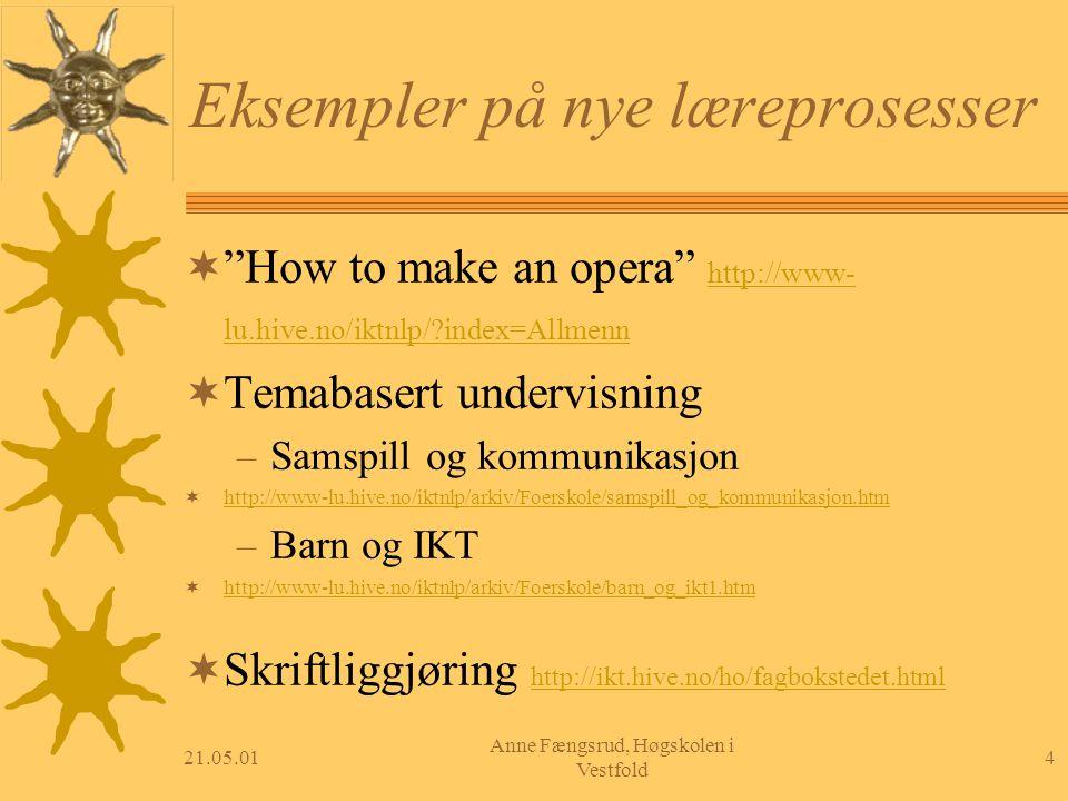 "21.05.014 Anne Fængsrud, Høgskolen i Vestfold Eksempler på nye læreprosesser  ""How to make an opera"" http://www- lu.hive.no/iktnlp/?index=Allmenn htt"
