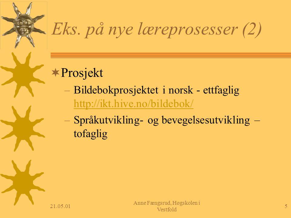 21.05.015 Anne Fængsrud, Høgskolen i Vestfold Eks. på nye læreprosesser (2)  Prosjekt – Bildebokprosjektet i norsk - ettfaglig http://ikt.hive.no/bil