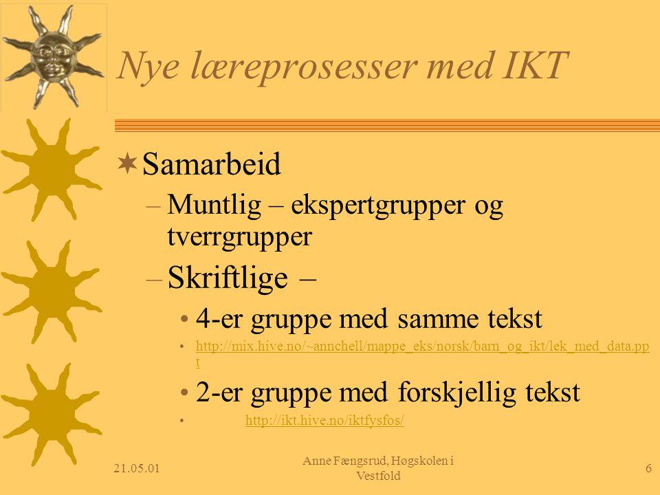 21.05.016 Anne Fængsrud, Høgskolen i Vestfold Nye læreprosesser med IKT  Samarbeid – Muntlig – ekspertgrupper og tverrgrupper – Skriftlige – 4-er gru