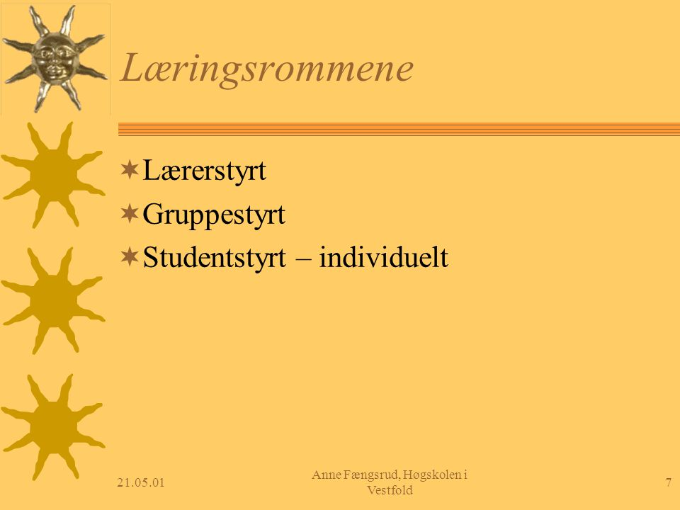 21.05.017 Anne Fængsrud, Høgskolen i Vestfold Læringsrommene  Lærerstyrt  Gruppestyrt  Studentstyrt – individuelt