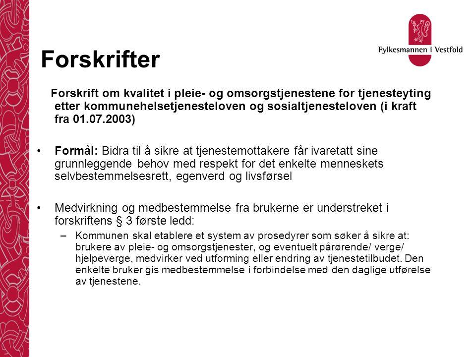 Forskrifter Forskrift om kvalitet i pleie- og omsorgstjenestene for tjenesteyting etter kommunehelsetjenesteloven og sosialtjenesteloven (i kraft fra