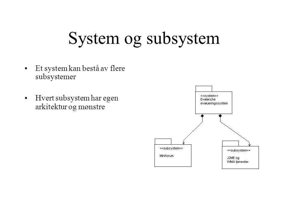 System og subsystem Et system kan bestå av flere subsystemer Hvert subsystem har egen arkitektur og mønstre