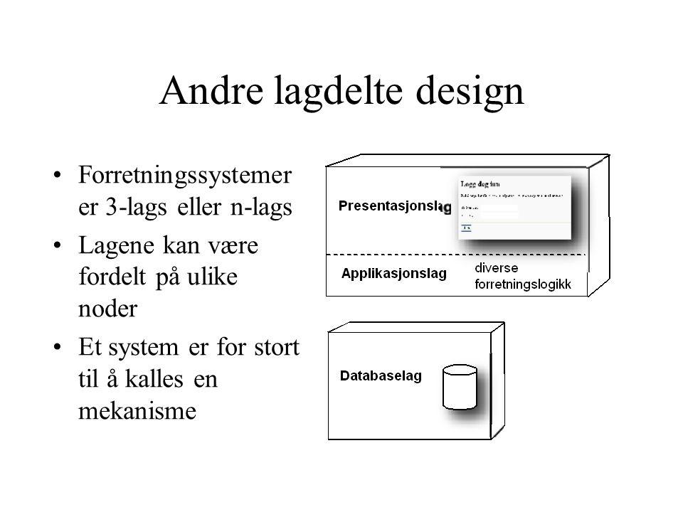 Andre lagdelte design Forretningssystemer er 3-lags eller n-lags Lagene kan være fordelt på ulike noder Et system er for stort til å kalles en mekanisme